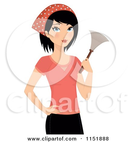 Clipart of a Cleaning Woman Holding a Duster - Royalty Free Vector Illustration by Melisende Vector
