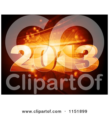 Clipart of a 3d New Year 2013 over Orange Bursts and Flares - Royalty Free Vector Illustration by elaineitalia