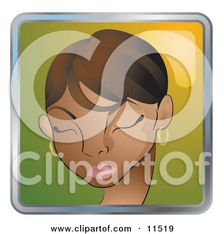 People Internet Messenger Avatar Of A Pretty African American Woman With Her Eyes Closed Clipart Illustration