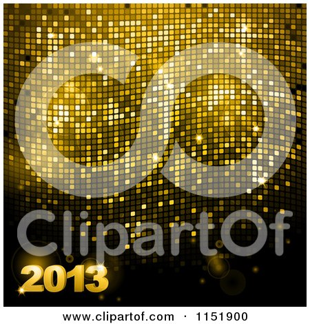 Clipart of a 3d Gold New Year 2013 over Sparkly Mosaic - Royalty Free Vector Illustration by elaineitalia