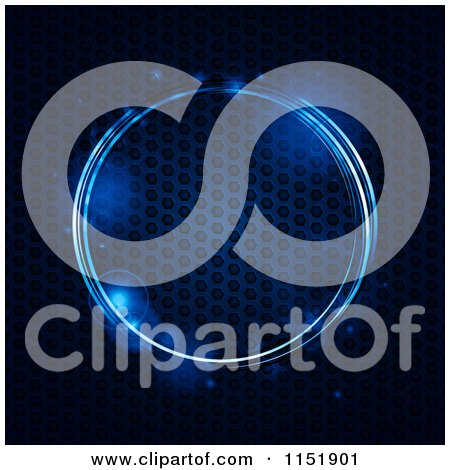 Clipart of a Glowing Blue Circle with Mesh Metal - Royalty Free Vector Illustration by elaineitalia
