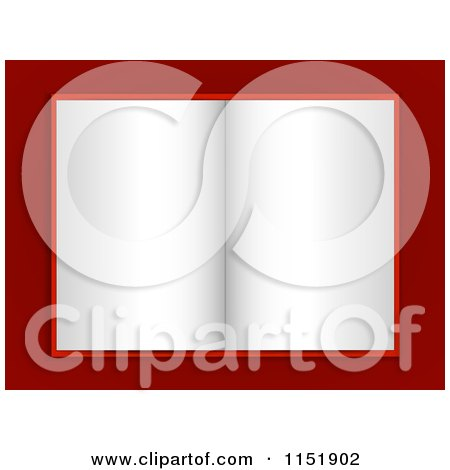 Clipart of a Blank Paged Open Book on Red - Royalty Free Vector Illustration by elaineitalia