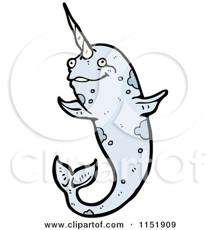 Cartoon of a Narwhal - Royalty Free Vector Illustration by lineartestpilot