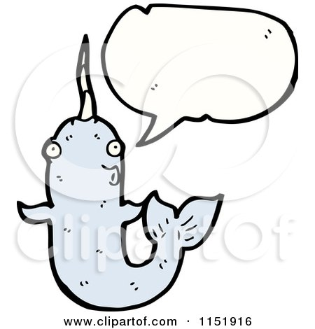 Cartoon of a Talking Narwhal - Royalty Free Vector Illustration by lineartestpilot
