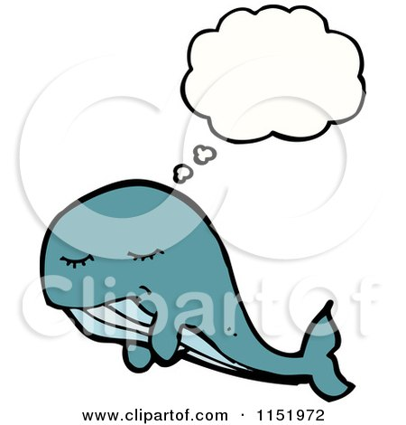 Cartoon of a Thinking Whale - Royalty Free Vector Illustration by lineartestpilot