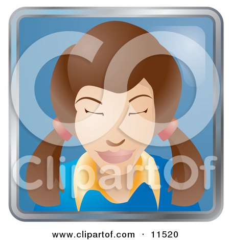 People Internet Messenger Avatar of a Cute Brunette Woman With Her Hair in Pig Tails Clipart Illustration by AtStockIllustration
