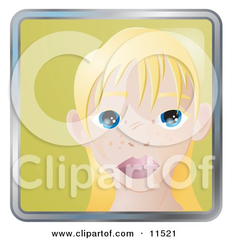 People Internet Messenger Avatar Of A Cute Blond Girl With Big Blue Eyes And Freckles Clipart Illustration