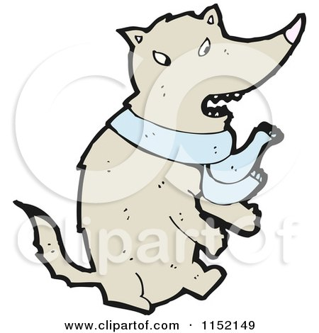 Cartoon of a Wolf Wearing a Scarf - Royalty Free Vector Illustration by lineartestpilot