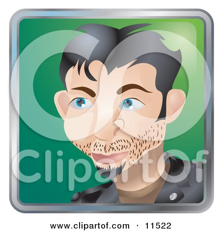 People Internet Messenger Avatar Of A Young Caucasian Man With Facial Hair Clipart Illustration
