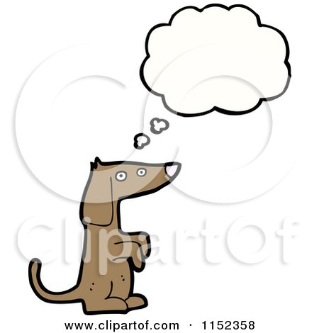 Cartoon of a Thinking Dachshund Dog - Royalty Free Vector Illustration by lineartestpilot