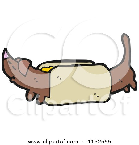 Cartoon of a Dachshund Dog in a Bun - Royalty Free Vector Illustration by lineartestpilot