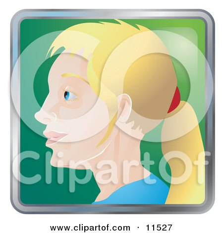 People Internet Messenger Avatar of a Blond Woman With Her Hair in a Pony Tail Clipart Illustration by AtStockIllustration