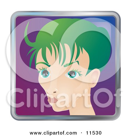 People Internet Messenger Avatar of a Skinny Young Woman With Green Hair Clipart Illustration by AtStockIllustration
