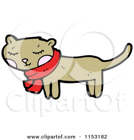Cartoon of a Cat Wearing a Scarf - Royalty Free Vector Illustration by lineartestpilot