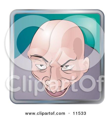People Internet Messenger Avatar Of A Creepy Bald Man Clipart Illustration