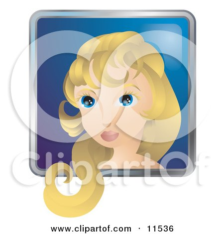People Internet Messenger Avatar of a Pretty Woman With Blond Hair and Blue Eyes Clipart Illustration by AtStockIllustration