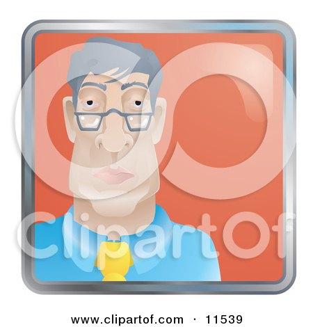 People Internet Messenger Avatar Of A Bored Businessman Wearing Glasses Clipart Illustration