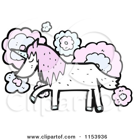 Cartoon of a Thinking Unicorn - Royalty Free Vector Illustration by lineartestpilot