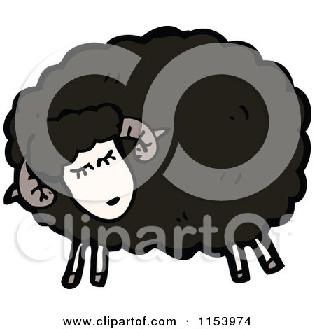Cartoon of a Black Sheep - Royalty Free Vector Illustration by lineartestpilot