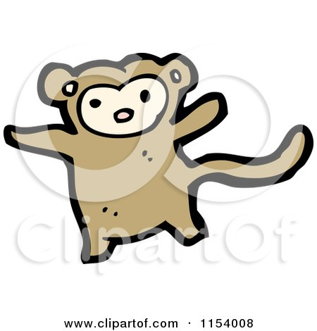 Cartoon of a Monkey - Royalty Free Vector Illustration by lineartestpilot