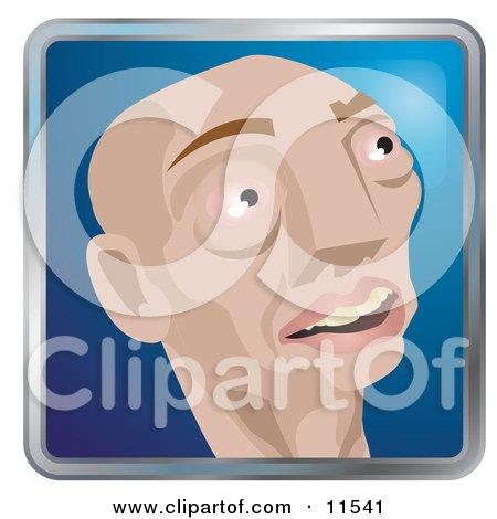People Internet Messenger Avatar Of A Skinny Bald Caucasian Man Clipart Illustration