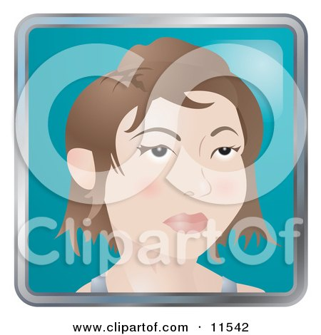 People Internet Messenger Avatar of a Stylish Young Woman With Short Hair Clipart Illustration by AtStockIllustration