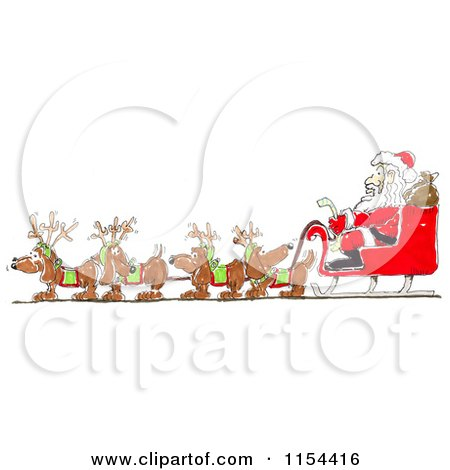 Clipart of a Team of Wiener Dogs Pulling Santas Sleigh - Royalty Free Vector Clipart by Spanky Art