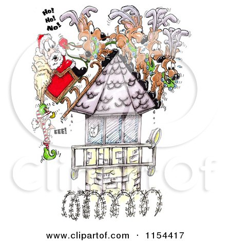 Clipart of an Elf Hanging off of Santas Sleigh on a Steep Prison Tower Roof - Royalty Free Vector Clipart by Spanky Art
