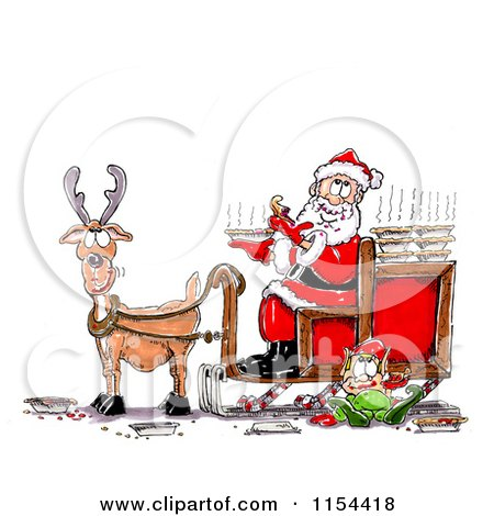 Clipart of a Lone Reindeer with Santa and an Elf Eating Pies - Royalty Free Vector Clipart by Spanky Art