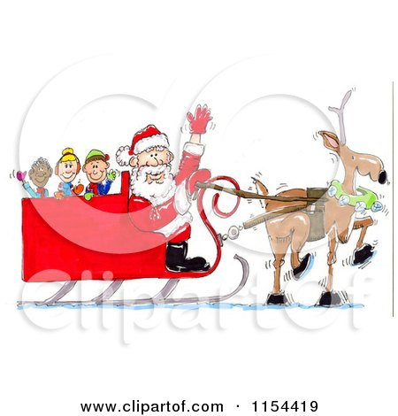 Clipart of a Lone Reindeer Pulling Santas Sleigh with Kids  Royalty Free Vector Clipart by Spanky Art