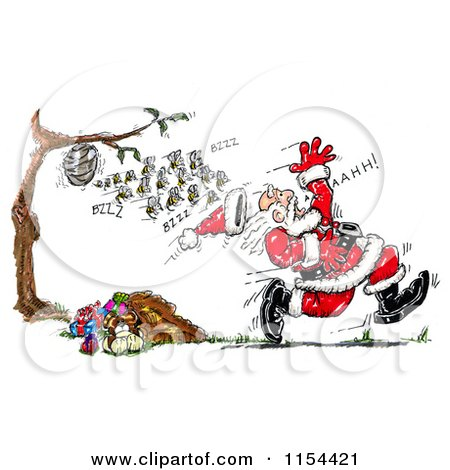 Clipart of a Colony of Bees Chasing Santa - Royalty Free Vector Clipart by Spanky Art