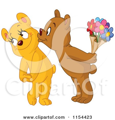 Cartoon of a Cute Bear Kissing His Loves Cheek and Holding Flowers - Royalty Free Vector Illustration by yayayoyo