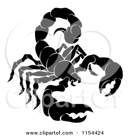 Clipart of a Black and White Horoscope Zodiac Astrology Scorpio Scorpion - Royalty Free Vector Illustration by AtStockIllustration
