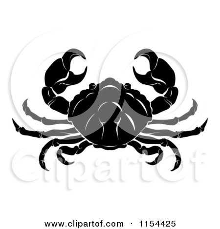 Clipart of a Black and White Horoscope Zodiac Astrology Cancer Crab - Royalty Free Vector Illustration by AtStockIllustration