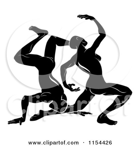 Clipart of Black and White Horoscope Zodiac Astrology Dancing Gemini Twins - Royalty Free Vector Illustration by AtStockIllustration