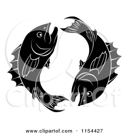 Clipart of Black and White Pisces Zodiac Astrology Fish - Royalty Free Vector Illustration by AtStockIllustration