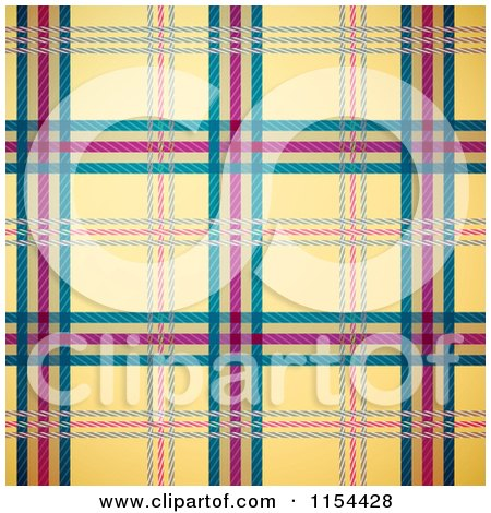 Clipart Of A Seamless Yellow Green and Magenta Tartan Plaid Background - Royalty Free Vector Illustration by Oligo