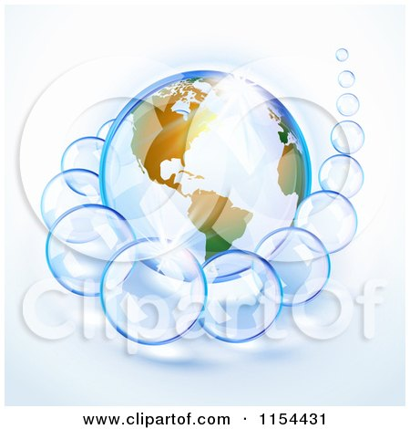 Clipart Of A Shiny Planet Earth And Bubbles - Royalty Free Vector Illustration by Oligo