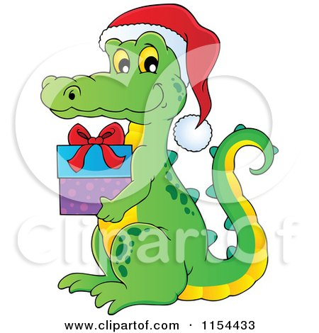 Cartoon of a Christmas Crocodile Holding a Gift - Royalty Free Vector Illustration by visekart