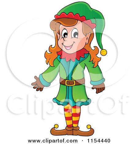 Cartoon of a Happy Female Christmas Elf Presenting - Royalty Free Vector Illustration by visekart