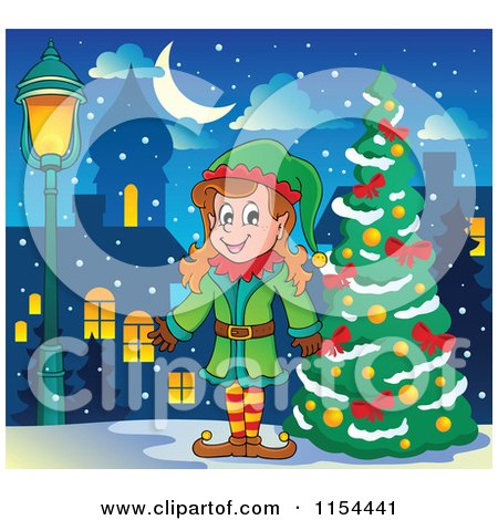 Cartoon of a Happy Female Christmas Elf by a Tree - Royalty Free Vector Illustration by visekart