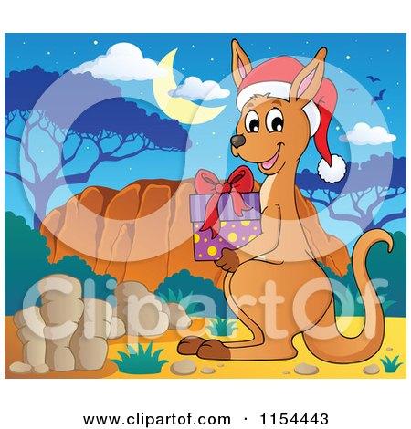 Cartoon of a Christmas Kangaroo Holding a Present - Royalty Free Vector Illustration by visekart