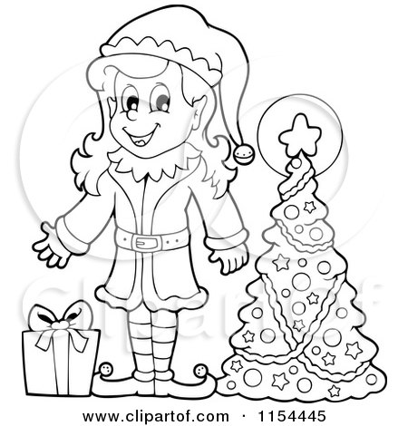 Cartoon of an Outlined Happy Female Christmas Elf with a Gift by a Tree - Royalty Free Vector Illustration by visekart