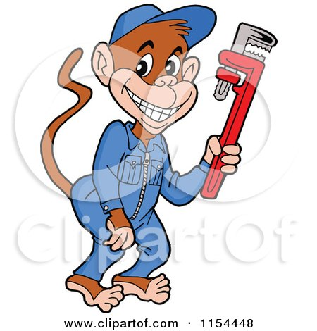 Cartoon of a Grease Monkey Plumber Holding a Wrench - Royalty Free Vector Illustration by LaffToon