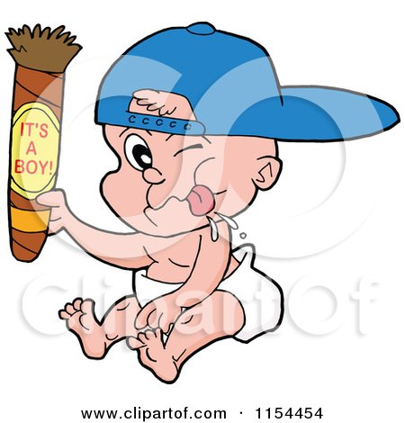 Cartoon of a White Baby Holding up a Cigar with Its a Boy Text - Royalty Free Vector Illustration by LaffToon