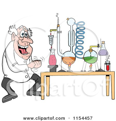 Cartoon of a Mad Scientist Laughing by a Chemistry Project - Royalty Free Vector Illustration by LaffToon