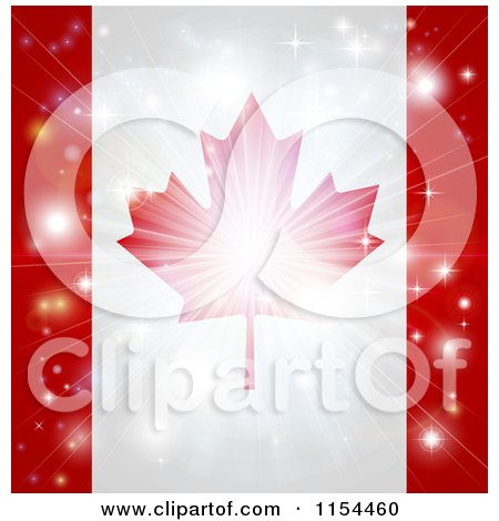Clipart of a Firework Burst over a Canadian Flag - Royalty Free Vector Illustration by AtStockIllustration