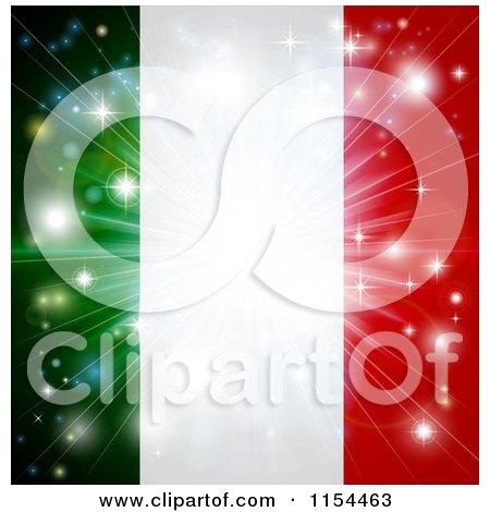 Clipart of a Firework Burst over an Italian Flag - Royalty Free Vector Illustration by AtStockIllustration