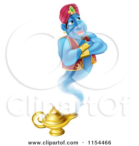 Cartoon of a Happy Genie Emerging from a Magic Lamp - Royalty Free Vector Illustration by AtStockIllustration