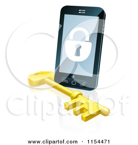 Clipart of a 3d Locked Cell Phone with a Skeleton Key - Royalty Free Vector Illustration by AtStockIllustration